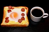 Eggs on toast and coffee