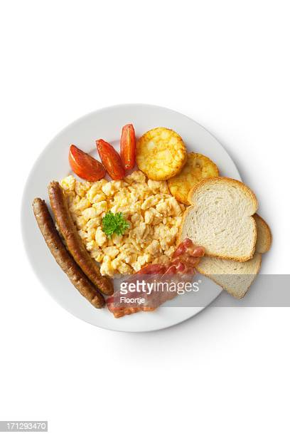 Eggs: Scrambled Egg, Bacon, Sausage, Hash Browns, Tomato and Toast