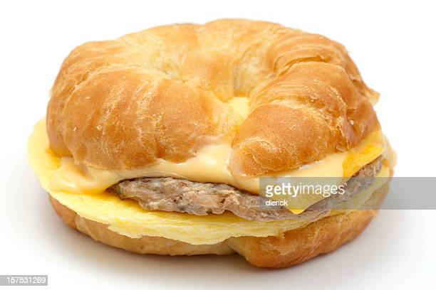 egg,sausage, andd cheese croissant
