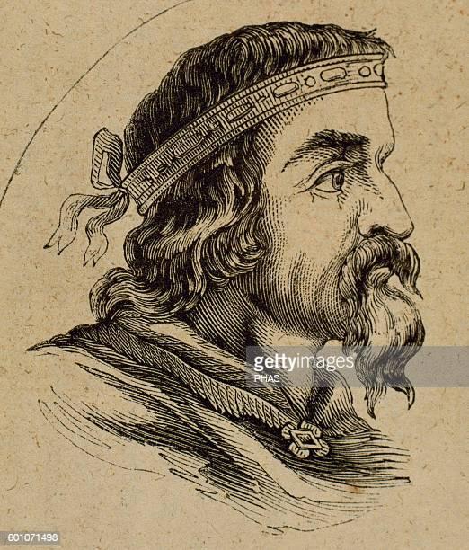 Egica Ergica or Egicca Visigoth King of Hispania and Septimania from 687703 Portrait Engraving