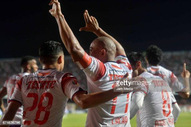 Egidio Arevalo of Puebla celebrates after scoring the first goal of his team during the 16th round match between Veracruz and Monterrey as part of...