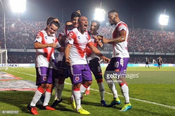 Egidio Arevalo of Veracruz celebrates after scoring his team's winning goal during the 16th round match between Veracruz and Monterrey as part of the...