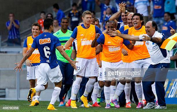 Egidio of Cruzeiro celebrates a scored goal against Botafogo during a match between Cruzeiro and Botafogo as part of Brasileirao Series A 2014 at...