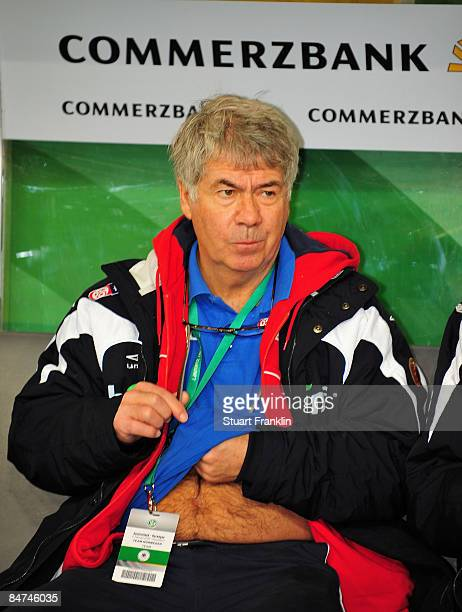 Egil Olsen trainer of Norway looks on during the International Friendly match between Germany and Norway at the LTU Arena Duesseldorf on February 11...