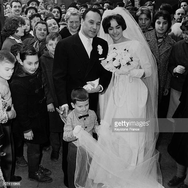 Eglise SaintMedard Wedding Of Claudine Auger And Pierre Gaspard Huit In Paris In 1959