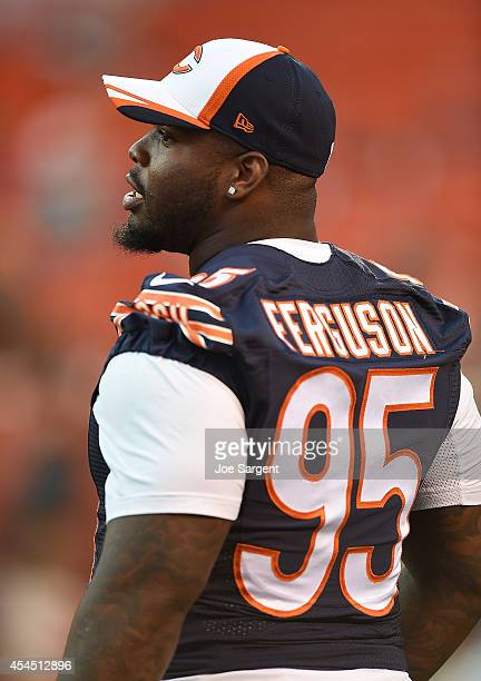 Ego Ferguson of the Chicago Bears looks on during warmups prior to the preseason game against the Cleveland Browns at FirstEnergy Stadium on August...