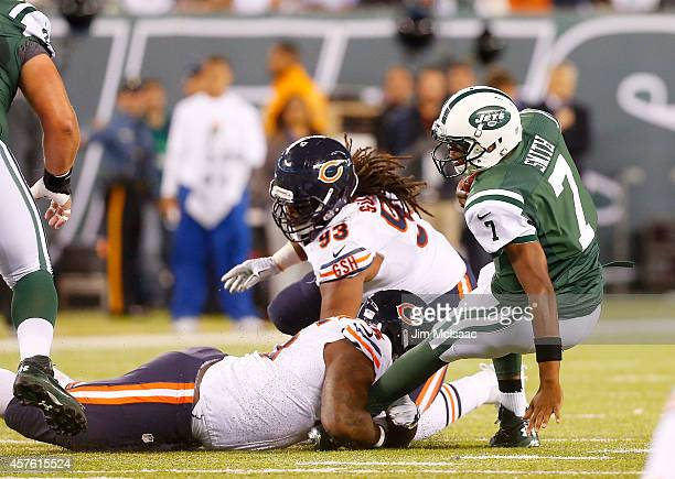 Ego Ferguson of the Chicago Bears sacks Geno Smith of the New York Jets on September 22 2014 at MetLife Stadium in East Rutherford New Jersey The...