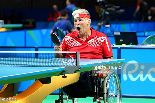 Egon Kramminger of Austria celebrates after scores a point in the men's singles Table Tennis Class 3 on day 2 of the Rio 2016 Paralympic Games at...