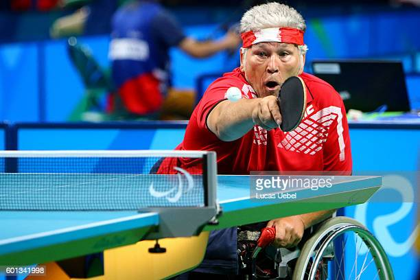 Egon Kramminger of Austria competes in the men's singles Table Tennis Class 3 on day 2 of the Rio 2016 Paralympic Games at Riocentro Pavilion 3 on...