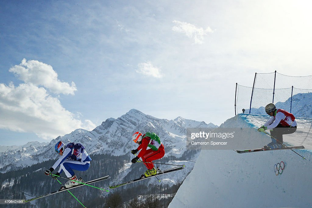 <a gi-track='captionPersonalityLinkClicked' href=/galleries/search?phrase=Egor+Korotkov&family=editorial&specificpeople=6703450 ng-click='$event.stopPropagation()'>Egor Korotkov</a> of Russia (blue bib), <a gi-track='captionPersonalityLinkClicked' href=/galleries/search?phrase=Armin+Niederer&family=editorial&specificpeople=5670393 ng-click='$event.stopPropagation()'>Armin Niederer</a> of Switzerland (green bib) and <a gi-track='captionPersonalityLinkClicked' href=/galleries/search?phrase=Filip+Flisar&family=editorial&specificpeople=6751934 ng-click='$event.stopPropagation()'>Filip Flisar</a> of Slovenia (red bib) compete during the Freestyle Skiing Men's Ski Cross Small Final on day 13 of the 2014 Sochi Winter Olympic at Rosa Khutor Extreme Park on February 20, 2014 in Sochi, Russia.