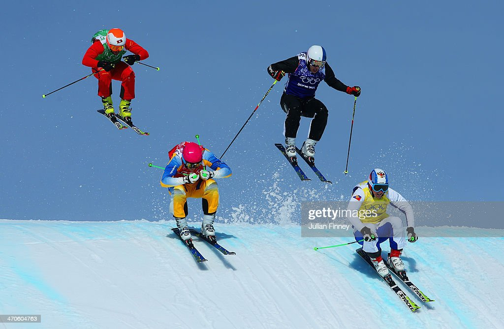<a gi-track='captionPersonalityLinkClicked' href=/galleries/search?phrase=Egor+Korotkov&family=editorial&specificpeople=6703450 ng-click='$event.stopPropagation()'>Egor Korotkov</a> of Russia, Jouni Pellinen of Finland, Norberg V Oehling of Sweden and <a gi-track='captionPersonalityLinkClicked' href=/galleries/search?phrase=Armin+Niederer&family=editorial&specificpeople=5670393 ng-click='$event.stopPropagation()'>Armin Niederer</a> of Switzerland make a jump in the quarter finals during the Mens Ski Cross Freestyle Skiing at Rosa Khutor Extreme Park on February 20, 2014 in Sochi, Russia.