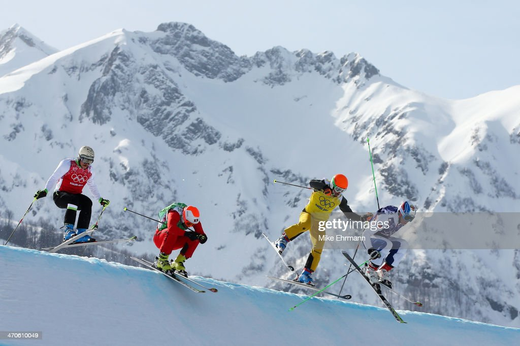Egor Korotkov of Russia leads from Florian Eigler of Germany, <a gi-track='captionPersonalityLinkClicked' href=/galleries/search?phrase=Armin+Niederer&family=editorial&specificpeople=5670393 ng-click='$event.stopPropagation()'>Armin Niederer</a> (2ndL) of Switzerland and <a gi-track='captionPersonalityLinkClicked' href=/galleries/search?phrase=Filip+Flisar&family=editorial&specificpeople=6751934 ng-click='$event.stopPropagation()'>Filip Flisar</a> (L) of Slovenia during the Freestyle Skiing Men's Ski Cross Small Final on day 13 of the 2014 Sochi Winter Olympic at Rosa Khutor Extreme Park on February 20, 2014 in Sochi, Russia.