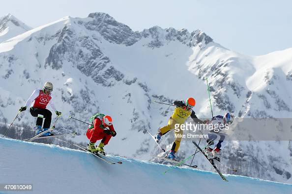 Egor Korotkov of Russia leads from Florian Eigler of Germany Armin Niederer of Switzerland and Filip Flisar of Slovenia during the Freestyle Skiing...