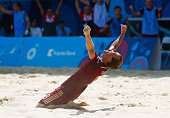 Egor Shaikov of Russia celebrates as he scores their first goal during the Men's Beach Soccer gold medal match between Italy and Russia on day...