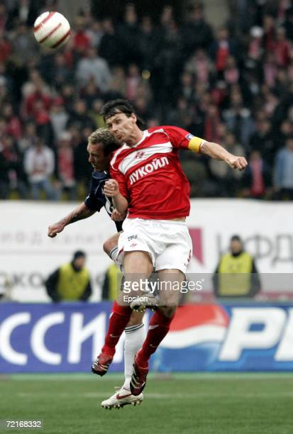 Egor Titov of Spartak Moscow competes for the ball with Fernando Riksen of Zenit StPetersburg during the Football Russian League Championship match...