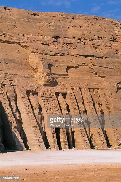 Egypt Abu Simbel Small Temple Of Abu Simbel Facade Ramses Ii And Nefertarihathor