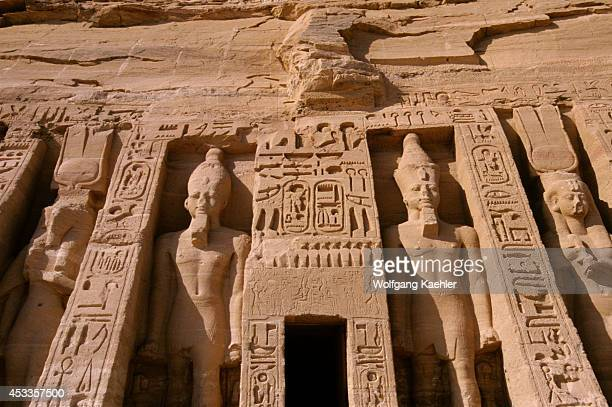 Egypt Abu Simbel Small Temple Of Abu Simbel Facade Ramses Ii And Nefertarihathor