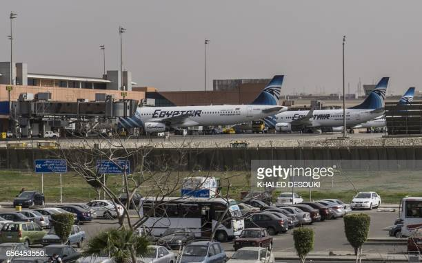 Egypt Air planes sit on the tarmac at Cairo international aipport on March 22 2017 Hours after the US government warned that extremists plan to...