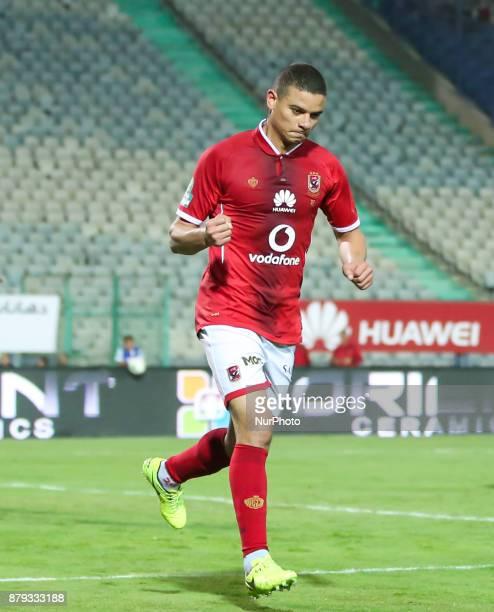 Egypt AlAhli player Saad Samir celebrates his goal scored Against AlDakhlia during the Egypt Primer League Fixtures 6 Match Between AlAhly and...