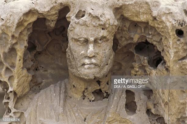Egypt Alexandria Catacombs of KomeshShuqafa Interior of the hypogeum detail of a statue