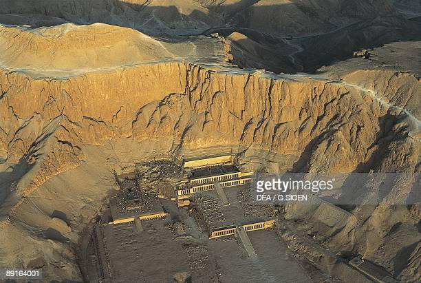 Egypt Ancient Thebes Dayr alBahri Valley of the Kings Temple of Hatshepsut aerial view
