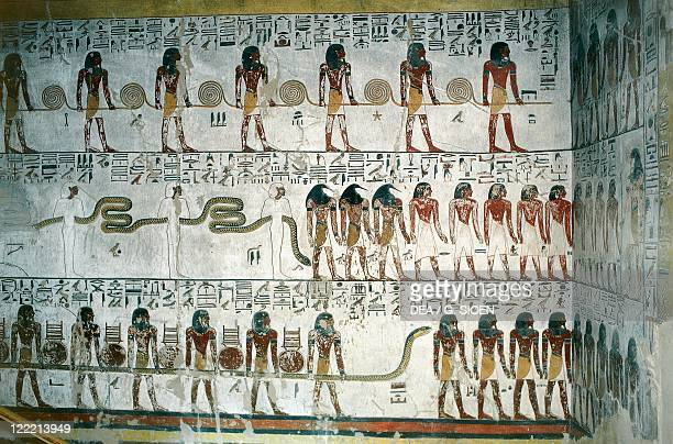 Egypt Ancient Thebes Luxor Valley of the Kings Tomb of Seti I New Kingdom Dynasty XIX Interior with frescoes