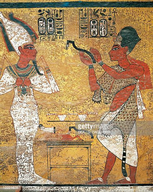 Egypt Ancient Thebes Luxor Valley of the Kings Tomb of Tutankhamen Burial chamber Detail of mural paintings Pharaoh before Osiris