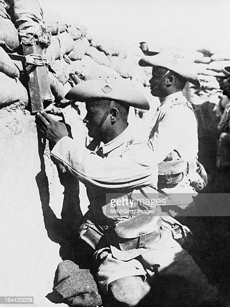 Egypt And Palestine 1914 1918 1917 The Advance across the Desert A portrait of sentries of the 3/3rd Gurkha Rifles in the front line trenches in...