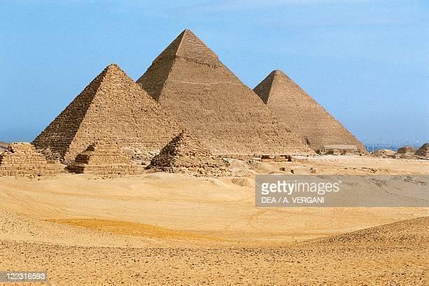 Egypt Cairo Ancient Memphis Pyramids at Giza Pyramid of Khafre Menkaure and Khufu