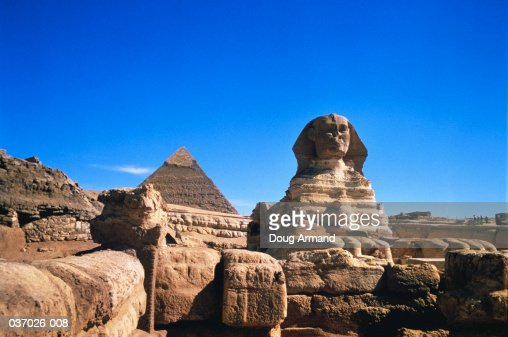 Egypt, Cairo, Giza, Sphinx and Pyramid of Chephren, low angle view : Stock Photo
