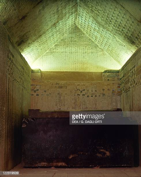 Egypt Cairo Mit Rahina ancient Memphis Saqqara necropolis Unas' pyramid Old Kingdom Dynasty V Interior burial chamber Ceiling decorated with stars...
