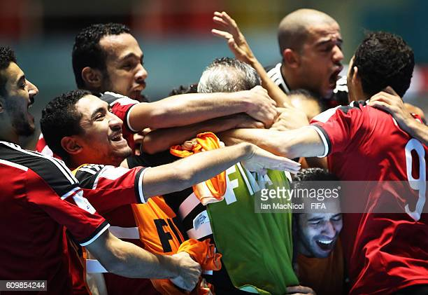 Egypt celebrates victory during the FIFA Futsal World Cup Round of 16 match between Italy and Egypt at the Coliseo el Pueblo Stadium on September 22...