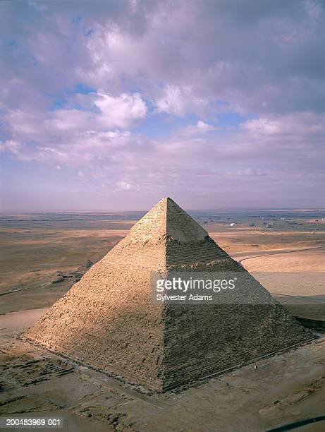 Egypt, Giza, Giza Pyramids, Pyramid of Chephren, elevated view