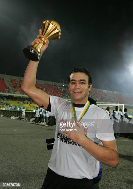 Egypt goalkeeper Esam Kamal Tawfik El Hadary celebrates winning the Final of the 2008 African Cup of Nations between Cameroon and Egypt at the Ohene...