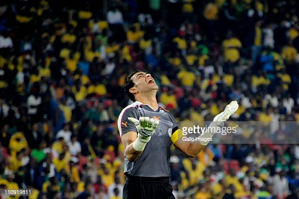 Egypt goalkeeper Essam ElHadary reacts during the 2012 Africa Cup of Nations Qualifier match between South Africa and Egypt at Coca Cola Park on...