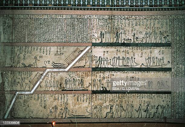 Egypt Luxor Ancient Thebes Valley of the Kings Tomb of Thutmose III Detail of the frescos of the burial chamber's east wall depicting the Book of...
