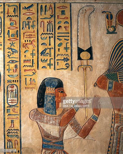 Egypt Luxor Ancient Thebes Valley of the Queens Tomb of Amon Khopechef son of Ramses II the young prince holding a flabellum New Kingdom Dynasty XIX