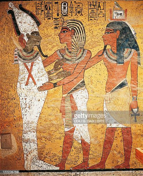 Egypt Luxor Thebes Valley of the Kings Tutankhamen's Tomb Detail of the frescos The King accompanied into the afterlife by Osiris