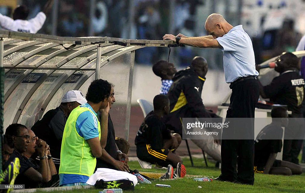 Egypt national football team head coach Bob Bradley (R) during the 2014 World Cup African qualifying first leg play-off match between Ghana and Egypt on October 15, 2013 at Baba Yara Stadium in Kumasi of Ashanti, Ghana.
