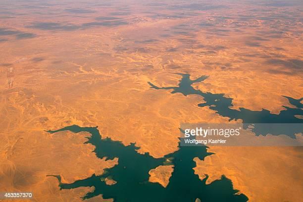 Egypt Near Abu Simbel Aerial View Of Desert And Lake Nasser