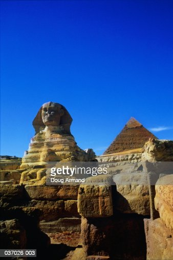 Egypt, near Cairo, Giza, Sphinx and Pyramid of Chephren, low angle : Stock Photo