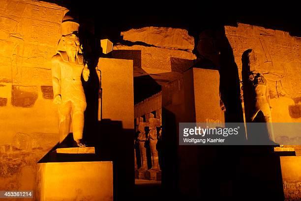 Egypt Nile River Luxor Temple Of Karnak At Night