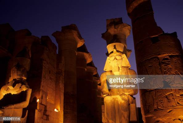 Egypt Nile River Luxor Temple Of Luxor Statue Of Ramses Ii At Entrance To Great Colonnade
