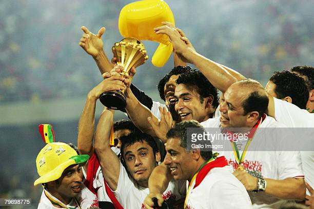 Egypt players celebrate with the with the trophy after their 10 victory of the AFCON Final match between Cameroon and Egypt at the Ohene Djan Stadium...