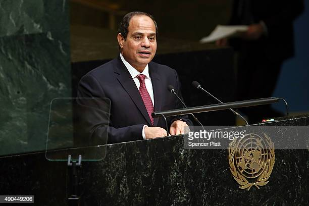 Egypt President Abdel Fattah Al Sisi addresses the United Nations General Assembly on September 28 2015 in New York City The ongoing war in Syria and...