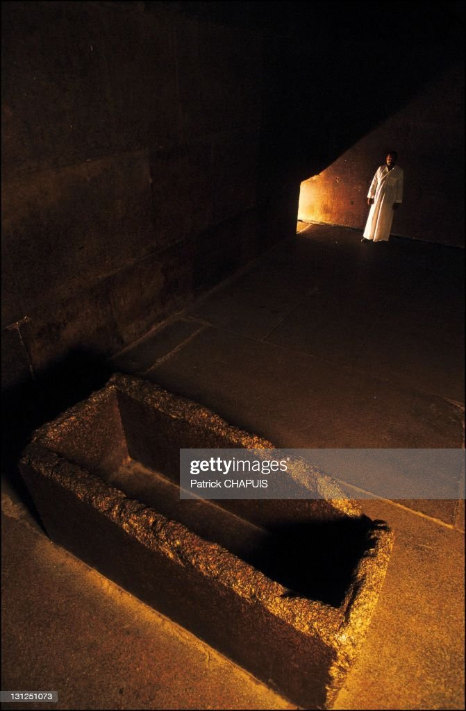 Egypt. Pyramid of Kheops, inside the pyramid, the King's chamber and his sarcophagus, in Giza, Egypt in 2005.