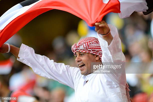 Egypt supporters enjoy the atmosphere during the Men's Football first round Group C Match of the London 2012 Olympic Games between Brazil and Egypt...