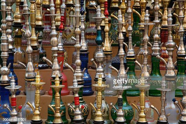 Egypt, Thebes, Luxor, assorted hookahs on display in bazaar