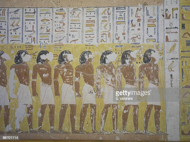 Egypt Thebes Luxor Valley of the Kings Tomb of Ramses IV Funerary room detail of the frescoed walls