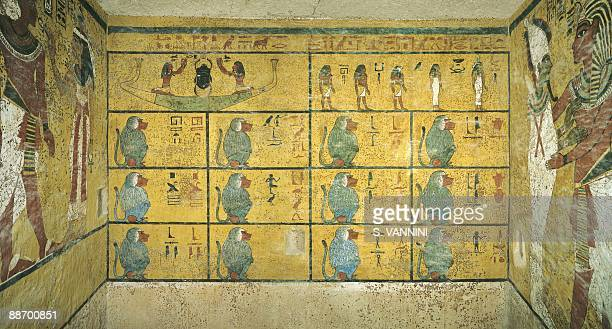 Egypt Thebes Luxor Valley of the Kings Tomb of Tutankhamen Burial chamber Western wall Mural paintings Illustrated Amduat First hour Scarab beetle as...